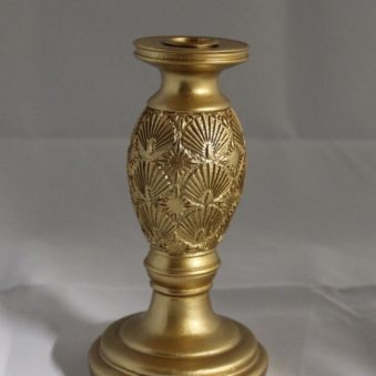 Candle holder leafs gold